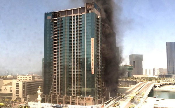 Flames Capture Abu Dhabi Tower Under Construction