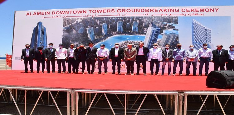 El Gazzar Lays Foundation Stone of Downtown Towers in New Alamein